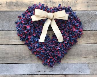Heart Wreath, Red Blue Wreath, Valentines Wreath, Rag Wreath, Patriotic Wreath, Christmas Wreath, Farmhouse Wreath, Rustic Rag Wreath