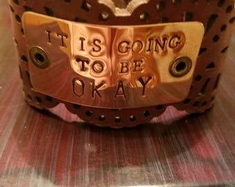 Scalloped genuine leather cuff. Beautiful with a great, handstamped message.