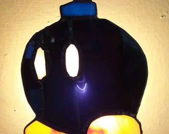 Bob omb nightlight - Mario brothers - Nintendo - video game - bomb - stained glass - super Mario - night light
