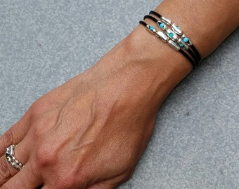 Womens Turquoise, Sterling Silver, Rubber Cuff Bracelet | Dark Waters | Water friendly Cuff Turquoise Bracelet