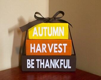 Autumn Harvest Be Thankful Wood Block Set Home Decor Primitive Thanksgiving Halloween Seasonal