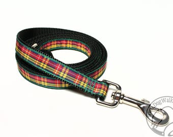 Buchanan Clan Tartan Leash // Matching Tartan Dog Leash in all widths // custom length // Plaid Leashes // Tartan Lead // Handmade Leash