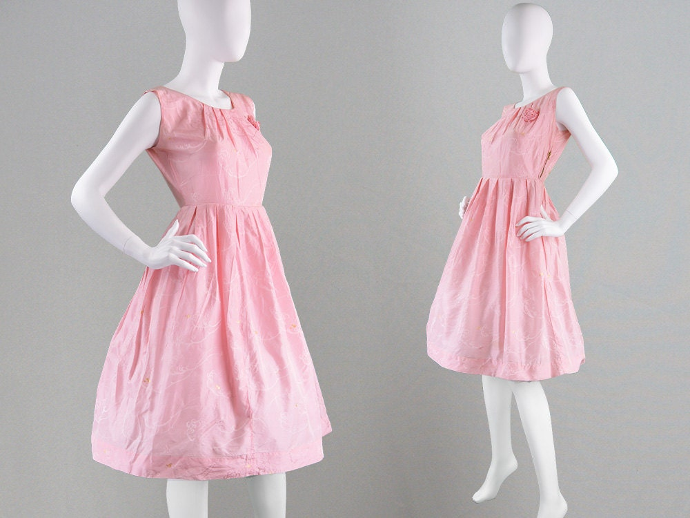 Vintage 50s Party Dress Pastel Pink Dress Cocktail Dress 1950s