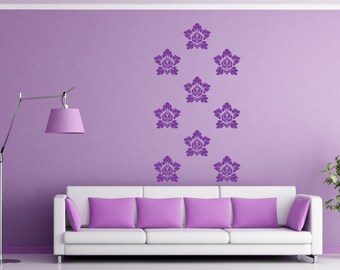 Damask scroll Vinyl Wall Decals set of 10 graphics A-2