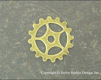 Steampunk Gears, Watch and Clock Pieces in Antiqued Polished Brass (item 3005-small AG) - 12 Pieces