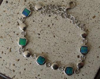Beautiful Australian Opal Doublet and Sterling Silver Bracelet (1059c)
