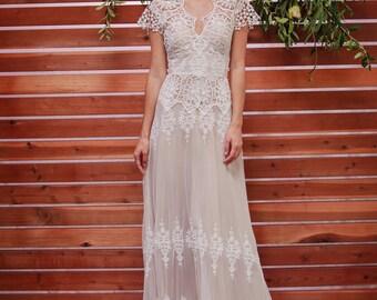 Azalea Lace Bohemian Wedding Dress | Cotton Lace with OPEN BACK | Handmade |  Boho Beach Wedding Dress