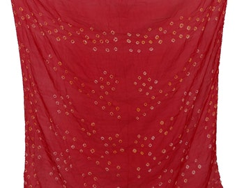 Hand-Printed Art Silk Scarf Mandala Solid Color, 41 x 41 Inches (Bright Red)