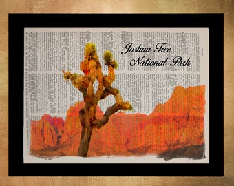 Joshua Tree National Park Dictionary Art Print, California Poster, Joshua Tree Poster, Desert Wall Art da1317