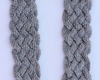 CLOSEOUT SALE!!!!   Cable Knit Scarf - Silver/Grey