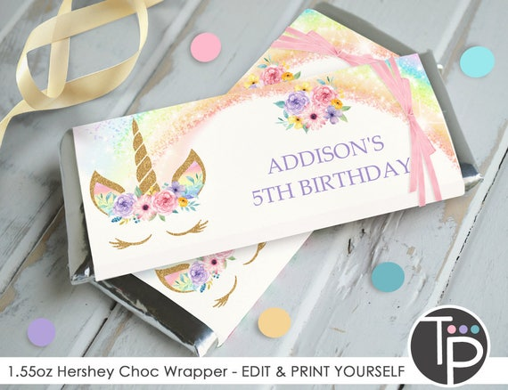 unicorn chocolate bar wrappers unicorn favors hershey bar