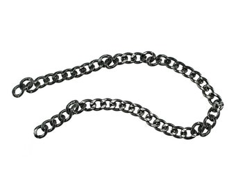 1 feet Chunky Dark Silver Gunmetal Purse Chain - 17mm Width, Replacement Chain, Chain Strap, Chunky Curb Chain, Chain Handle with Clasp