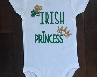 Baby Girl Glittered Bodysuit/Irish Princess
