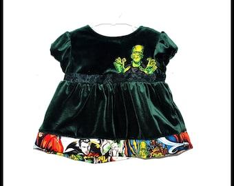 Girls Vintage Monsters Dress in Green Velvet