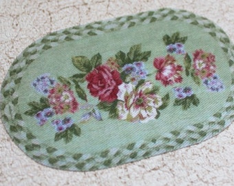 Miniature Rug for Dollhouse Oval Floral Braided Look Cottage Chic in One Twelfth Scale