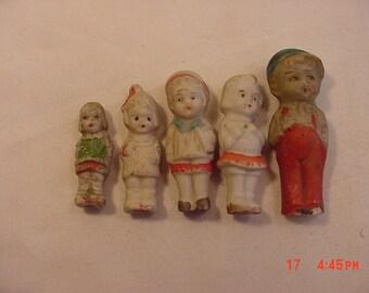 5 Small Vintage Bisque Frozen Charlotte Dolls  18 - 897