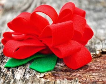 Single Ruffle Felt Flower; large flower clip; felt flower; ruffle flower; hair clip