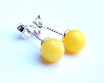 Baltic Amber Jewelry Studs Butterscotch Ball Earrings Natural Untreated 7 mm 925 silver