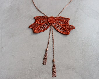 copper bow necklace | ABERDEEN | tassel necklace, victorian, bowtie necklace, girlfriend gift, bow necklace, lace anniversary gift
