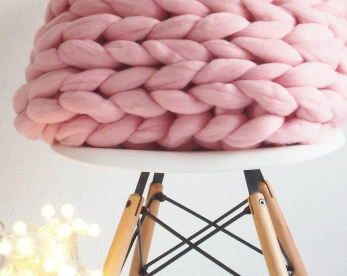 Manta XXL Merino. Lana extreme, España. Couverture de laine XXL merinos rose. Chunky pink Blanket. Baby Pink blanket merino wool.