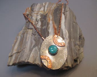 Sterling Silver / Copper Kingman Turquoise Necklace