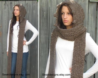 Hooded Scarf Long Scarf Wool Scarf Chunky Wool Scarf Scoodie Messenger Scarf Womens Scarf Gift for Her  Wood Brown or Choose Your Color