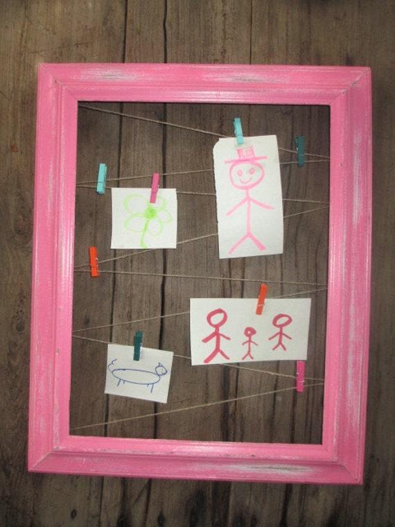 Hot Pink Vintage Distressed Frame Repurposed into Photo Memo Holder ...