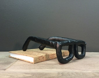 Black Home Decor - Hipster Art - Heavy Cast Iron Glasses Paperweight - Mid Century Modern Style Bookworm Eyeglasses Sculpture