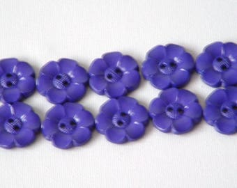 SALE Lot of 10 Flower Buttons - 1 Inch- royal blue  WAS 4.50 NOW 3.50