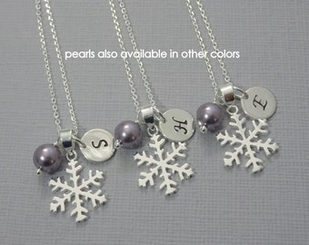Wisteria Purple Personalized Winter Wedding Bridesmaid Snowflake Necklace, Sterling Silver Snowflake Necklace, Personalized Bridesmaid Gift