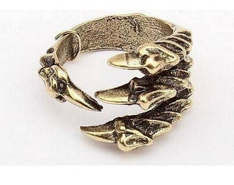 Raven Claw Ring-Antiqued Gold or Silver-Crow-Hawk-Bird > on sale