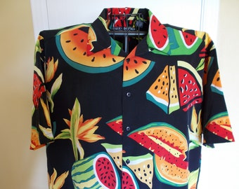 """Hold For Martin - Men's Vintage """"Box Office Island"""" Hawaiian Shirt, Size XL, 100% Polyester, Casual Wear, Early 90's, Vintage Gift Item"""