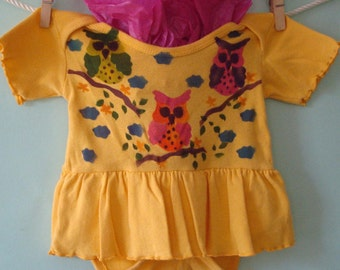 Owl Baby Girl Dress, Hand Painted, Yellow Dress With Painted Owls, Newborn Girls