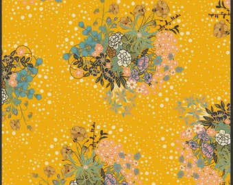 "VOILE - Praline Honey Floral - V-111 - by Pat Bravo for Art Gallery Fabrics - 100% Premium Cotton VOILE 52-53"" Wide"