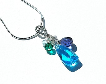 NEW Turquoise Quartz Pyramid Necklace / Sterling Silver / Cobalt Blue Teardrop / Green / Aquamarine / Purple / Multi Color Pendant / OOAK