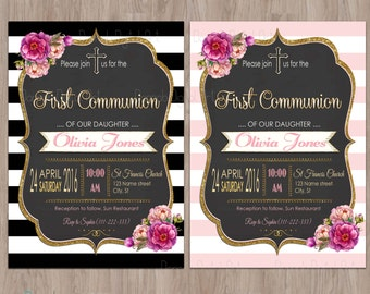 First Communion Invitation Girl, Girl First Communion Invitation, Communion invitations, communion invites, Communion Party, Printable