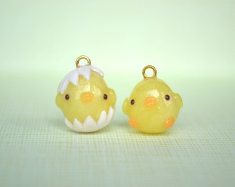 Hatching Chick Animal Charm - Kawaii Polymer Clay