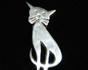 Vintage Sterling Silver Kitty Cat Slide Pendant Charm #BKC-KCHRM119