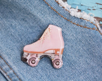 Roller Skate pin Pink Skate pin Roller skate jewelry Roller derby jewelry Skates lover gift Roller skating lover Skater gift idea
