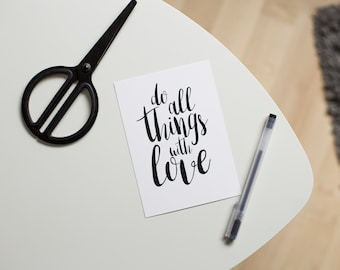 Postcard do all things with love I din A6