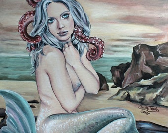 Stranded mermaid lowbrow art print, steampunk fantasy art, octopus tentacles