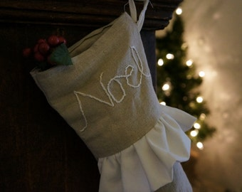 CLEARANCE Cottage Chic Linen Ruffled Christmas Stocking - Embroidered Noel Stocking