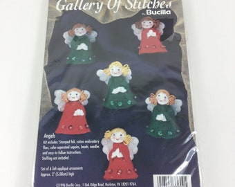 Vintage Bucilla Gallery of Stitches Angels Christmas Ornaments Kit, Felt,Applique,Sequins,NEW,33609
