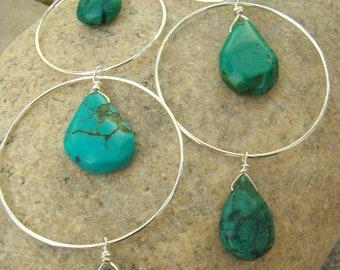Long Turquoise Earrings - Sterling Silver Hoops - Turquoise Teardrops - Large Hoop Earrings