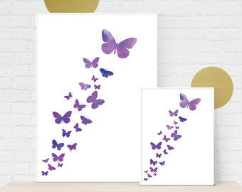 Digital Download, Butterflies Flock Abstract Pink/Purple Watercolour Style Art Graphic Print  - Instant Download, Printable to A3