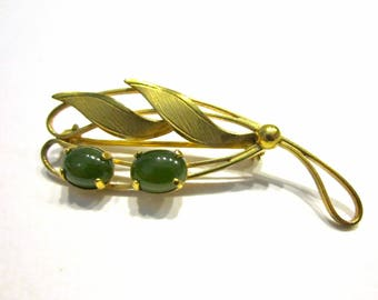 Vintage Jade Gold Filled Brooch Genuine Gemstone Gold Pin Gift for Mom Gift for Her Jewelry Gift Idea Under 15