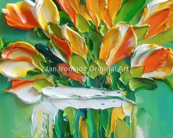 Oil Painting Impasto oil Art canvas yellow orange tulips wall art  thick paint tulip painting
