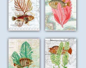 Sea Fan Art, Seaweed and Fishes Collage, over old maps, Nautical Art, coastal Decor Beach, Bathroom Decor, Nursery Art, Coastal Prints