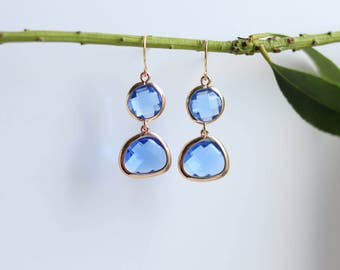 Blue Quartz Earrings - Gold Dangle Earrings - Stone Earrings - Drop Earrings - Birthstone Earrings - Blue Quartz Jewellery - Quartz Earrings