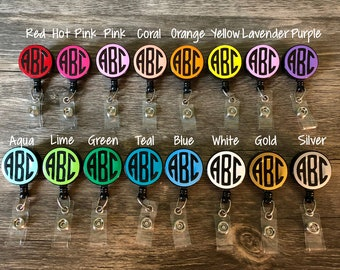 Monogrammed Badge Reel in Any Color // Retractable Badge Reel with Alligator Clip-On Back // Monogrammed ID Holder // Clip-On ID Reel